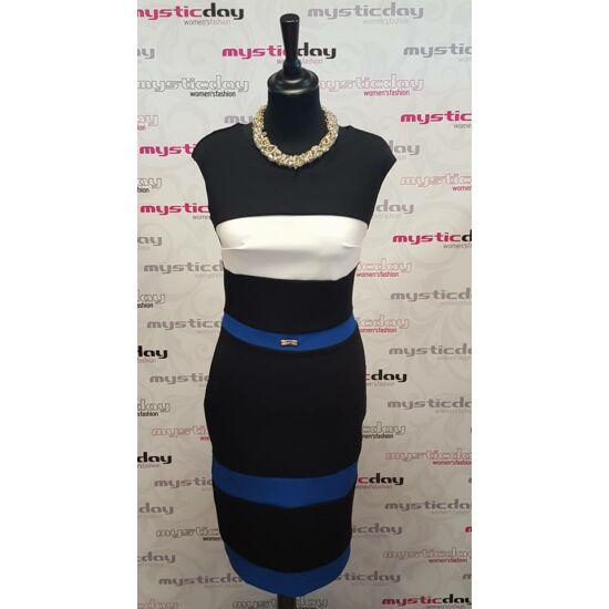 Mystic Day fekete alapon kék - fehér mintás alakformáló ruha