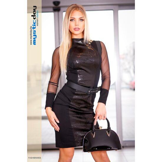Mystic Day fekete alakformáló ruha övvel