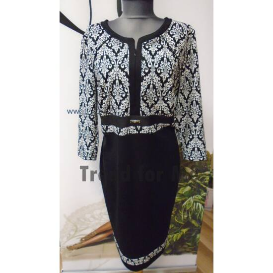 Mystic Day fekete - fehér mintás, mellén zippes alakformáló ruha