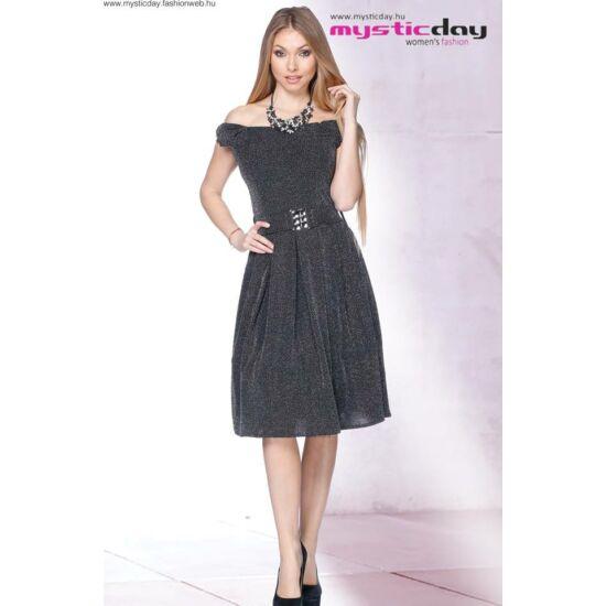 Mystic Day fekete alapon ezüst csillogó mintás alakformáló ruha