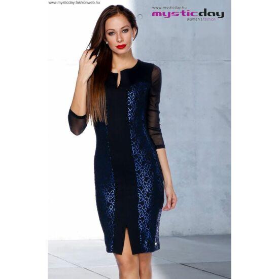 Mystic Day fekete alapon kék mintás alakformáló ruha