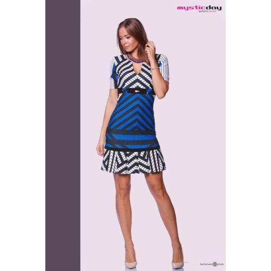 Mystic Day kék - fekete - fehér mintás alakformáló ruha