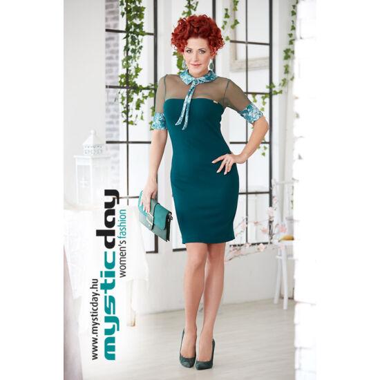 Mystic Day zöld necc betétes alakformáló ruha gallérral