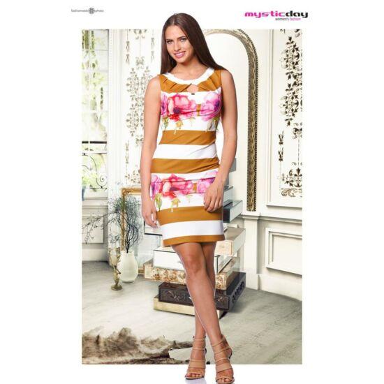 Mystic Day mellén rakott barna-fehér csíkos, virágmintás alakformáló ruha