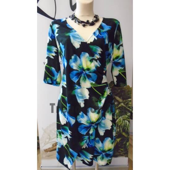 Mystic Day kék virágmintás felül átlapolt alakformáló ruha