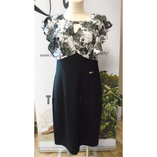 Mystic Day fekete felül virágmintás alakformáló ruha