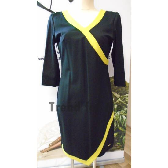Mystic Day fekete alapon zölddel díszített alakformáló ruha