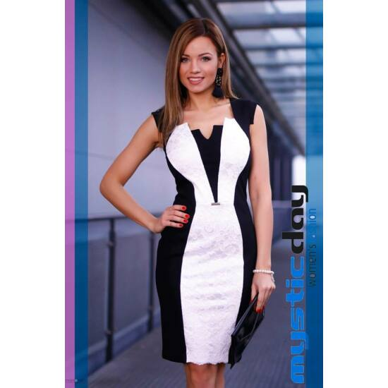 Mystic Day fekete - fehér betétes alakformáló ruha
