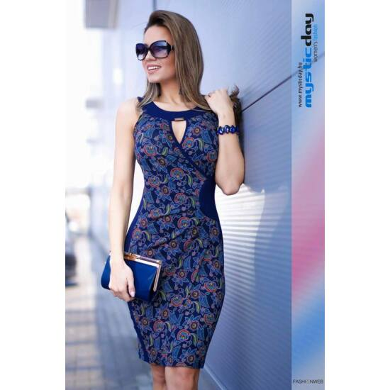 Mystic Day kék alapon mintás oldalt betétes alakformáló ruha