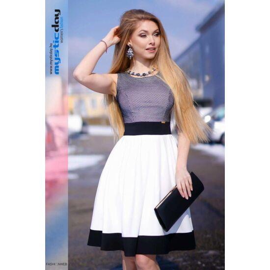 Mystic Day fekete - fehér A-vonalú alakformáló ruha
