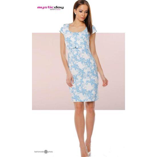 Mystic Day fehér alapon kék virágmintás alakformáló ruha