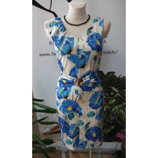 Mystic Day világos alapon kék virágmintás alakformáló ruha