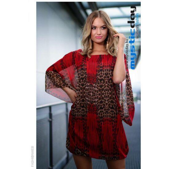 Mystic Day bordó ocelot mintás muszlin alakformáló ruha/tunika