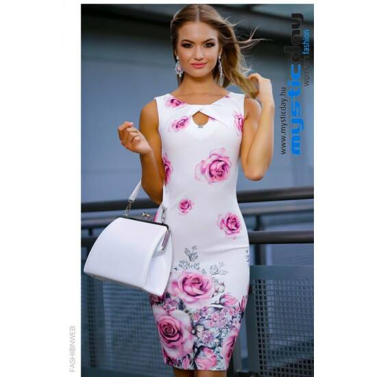 Mystic Day fehér alapon rózsaszín virágmintás alakformáló ruha