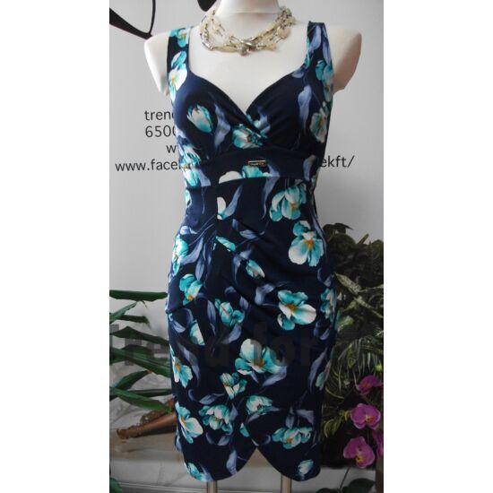 Mystic Day kék alapon virágmintás alakformáló ruha