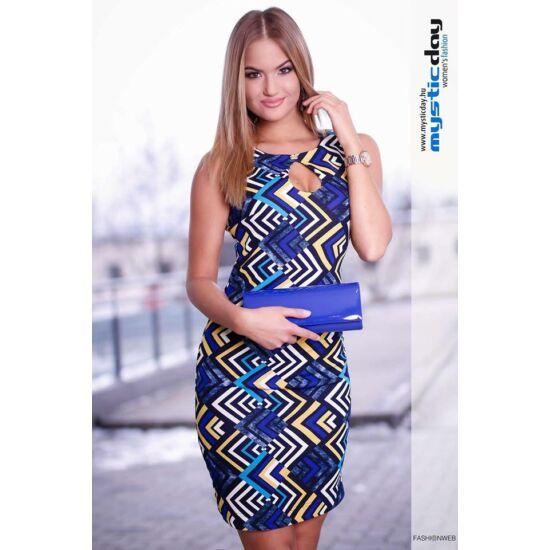 Mystic Day kék - sárga mintás alakformáló ruha