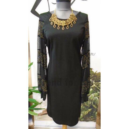 Mystic Day fekete alakformáló ruha ujján aranyszállal