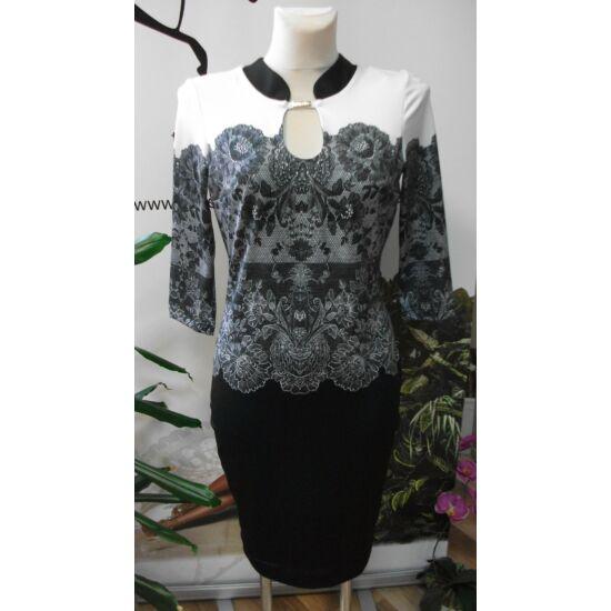 Mystic Day fekete - fehér csipkemintás alakformáló ruha