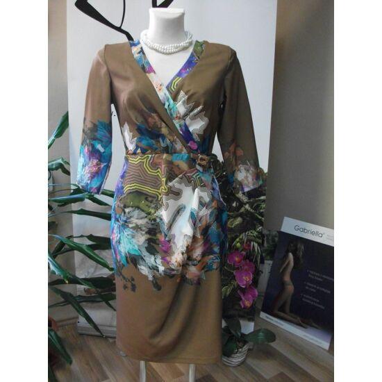 Mystic Day barna alapon színes mintás alakformáló ruha