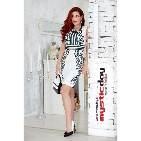 Mystic Day fekete - fehér mintás alakformáló ruha