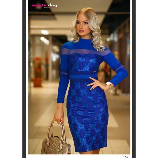 Mystic day kék csillogó necc és bőrbetétes alkalmi ruha