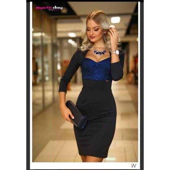 Mystic day fekete csillogó ruha mell résznél kék csipke betéttel