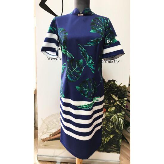 Mystic  day japángalléros kék alapon mintás alakformáló ruha