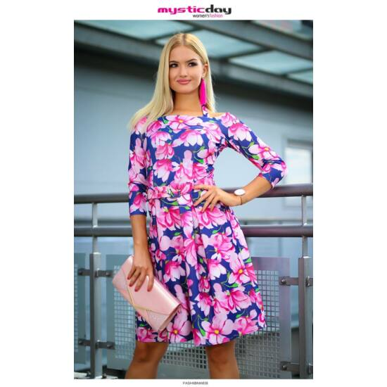 Mystic Day sötétkék alapon rózsaszín virágmintás A-vonalú alakformáló ruha