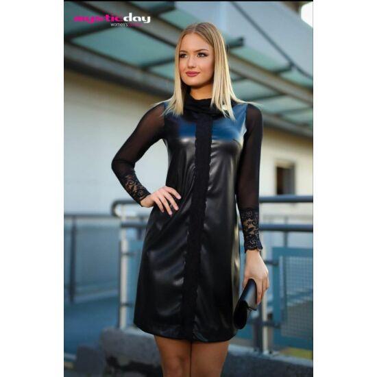 Mystic day fekete textilbőr Avonalú ruha