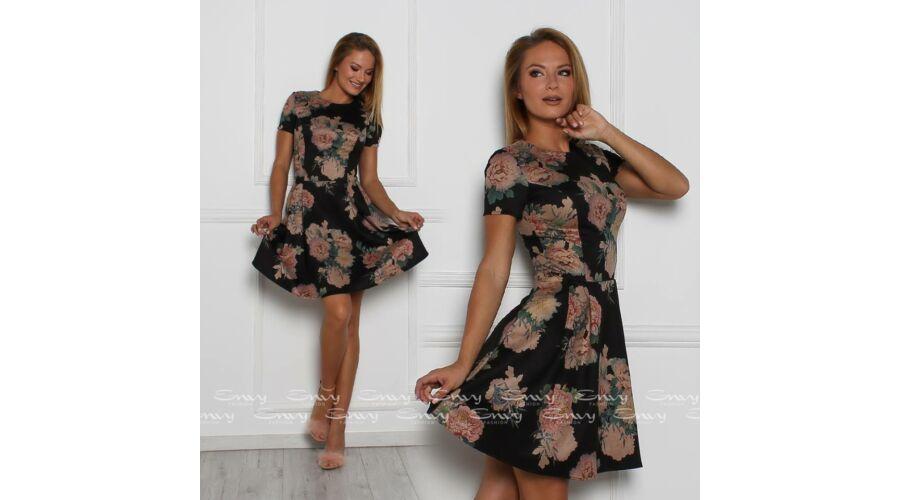 a17006feeb Envy virágmintás A-vonalú velúr hatású ruha