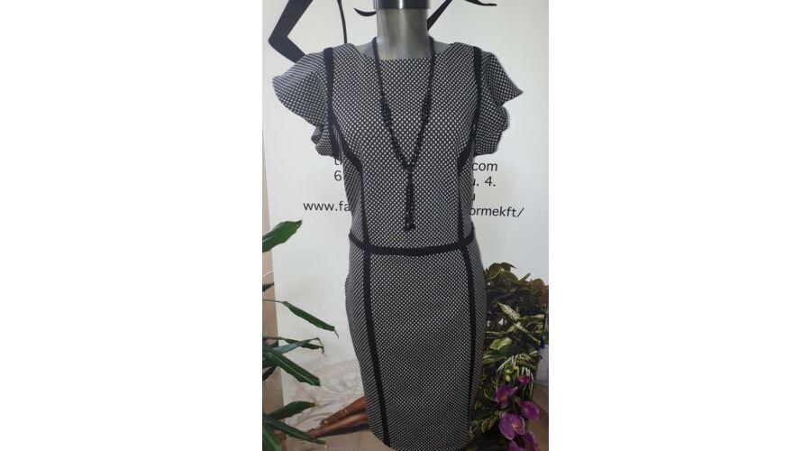 9e85ef7e3b Envy fekete - fehér mintás vállán fodros ruha