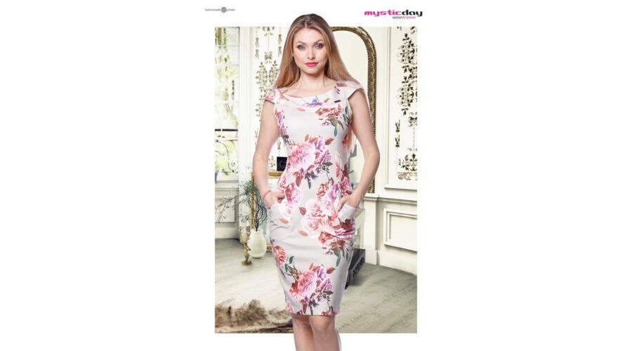 0cb86b8166 Mystic Day bézs alapon virágmintás alakformáló ruha