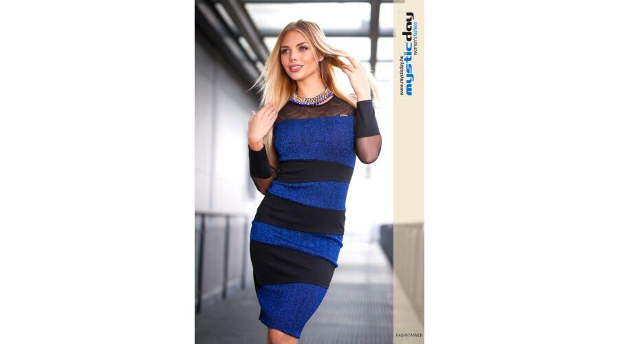 a482a72068 Mystic Day kék lurexes necc betétes alakformáló ruha